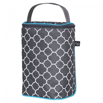 JL Childress - Twocool Double Bottle Cooler - Grey/Teal Clover