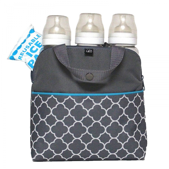 JL Childress - Maxicool 4-Bottle Cooler - Grey/Teal Clover 3
