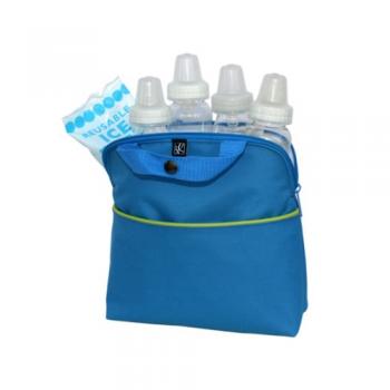 JL Childress - Maxicool 4-Bottle Cooler - Blue/Green