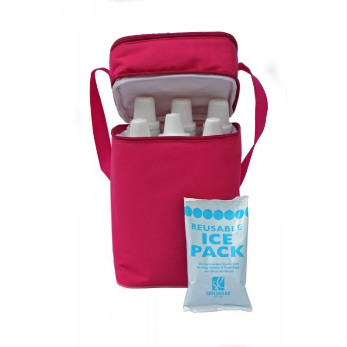 JL Childress - 6 Bottle Cooler Tote Bag - Pink/Light Pink 2