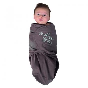 Bo Jungle - B-Wrap Swaddle Blanket (Large) - Taupe Monkey
